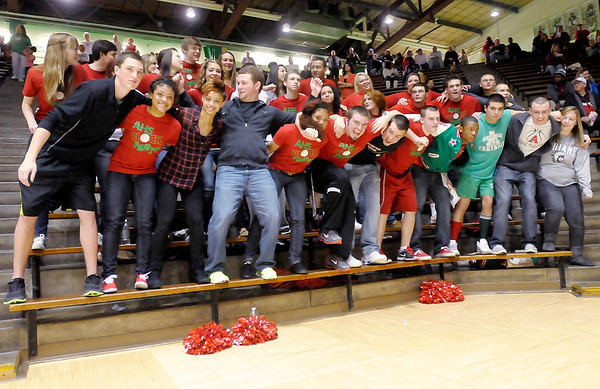 Anderson's student section sways back and forth as the Indians are introduced during the first round of the boy's sectional tournament  in New Castle on Tuesday.