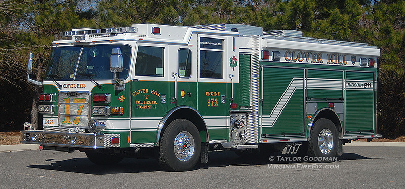 Clover Hill Volunteer Fire Department<br /> Rockingham County, VA<br /> Engine 172<br /> 2011 Pierce Arrow XT PUC 1500/750/30F<br /> Pierce #23058