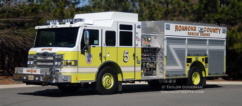 Roanoke County Fire Department<br /> Roanoke County, VA<br /> Engine 5 - Hollins<br /> 2011 Pierce Velocity HDRP 1500/750/25<br /> Pierce #23120
