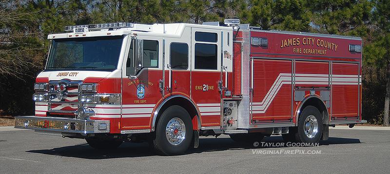 James City County Fire Department<br /> James City County, VA<br /> Engine 21<br /> 2011 Pierce Velocity PUC 1500/750/40A/40B/CAFS<br /> Pierce #23814