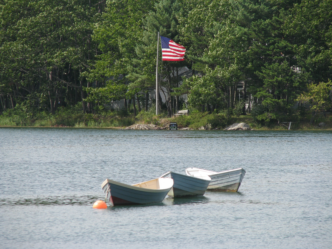 Dories at anchor in Kennebunkport.