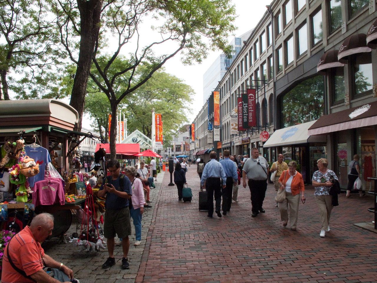 Quincy Market in Boston.  Tourist and shoppers pandemonium or ecstasy.