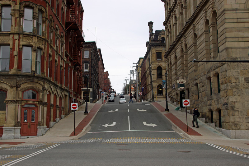 Saint John street .  Notice the elevation of the buildings.