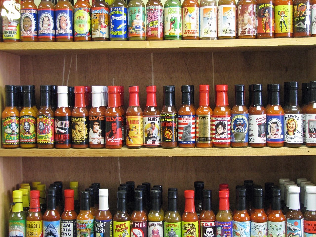 Check some of the names of the sauces in a Kennebunkport store.