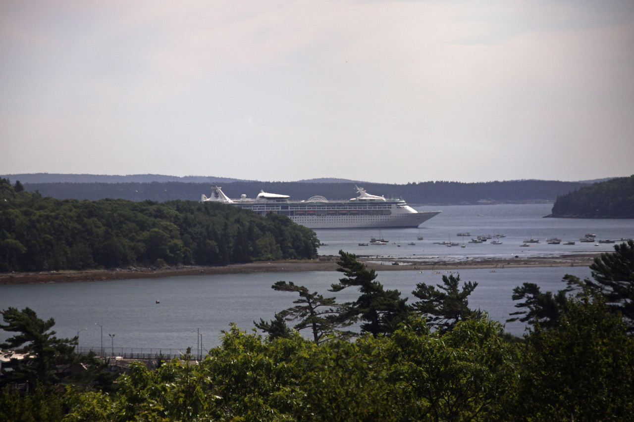 Enchantment of the Seas from the Road leaving Bar Harbor.