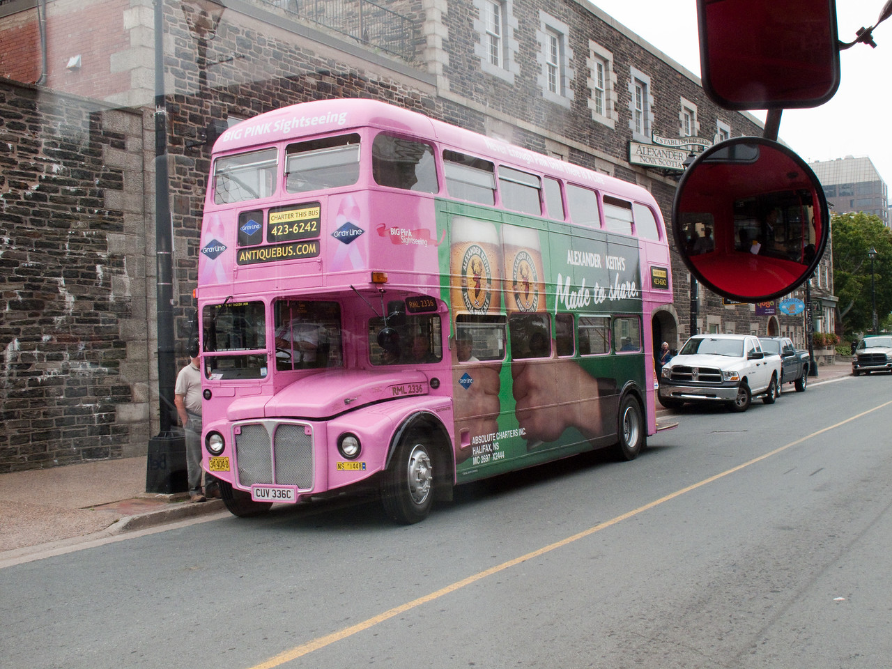 "The ""Pink Bus"" which is a series of tour buses in Halifax."
