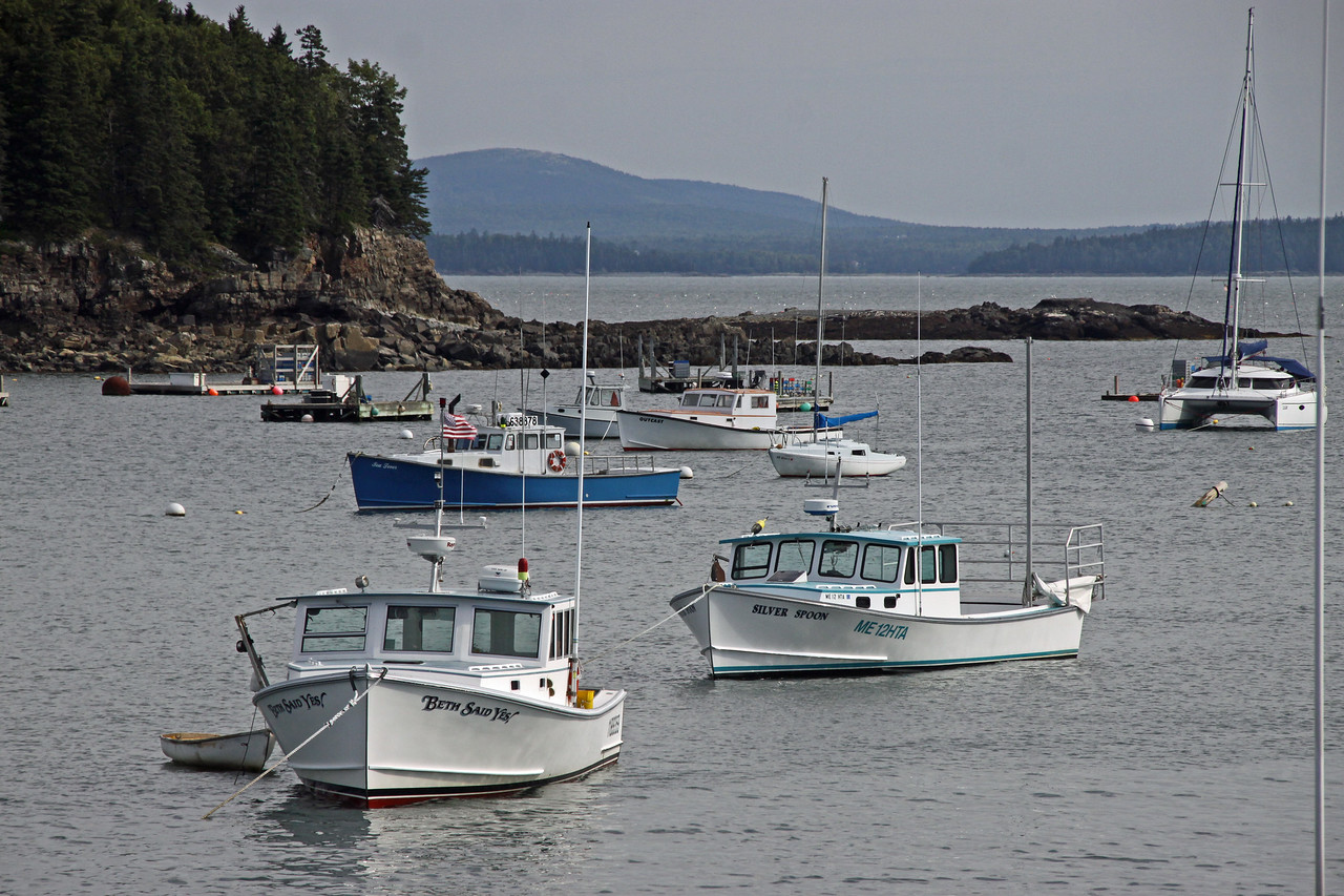 Mainly working boats in Bar Harbor port.