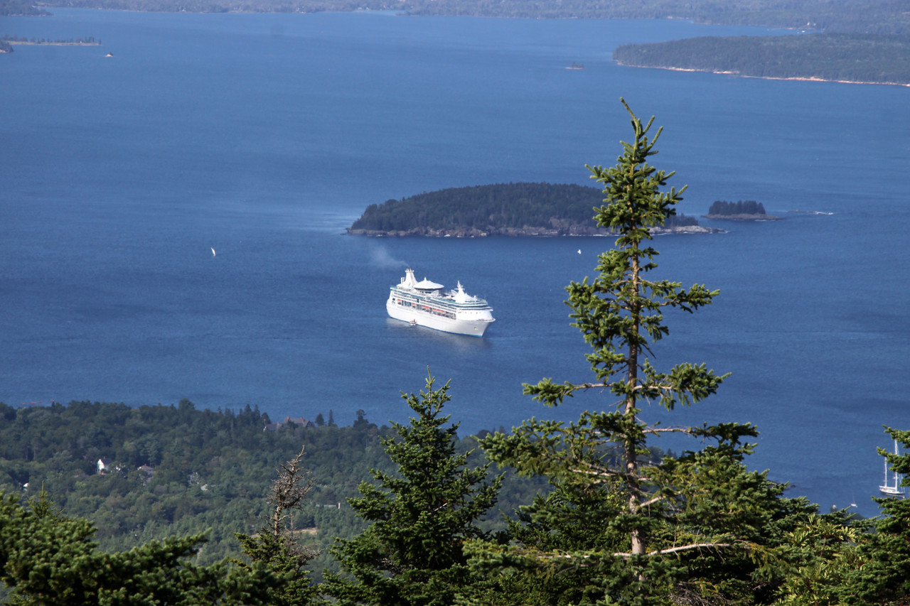 Enchantment of the Seas from a slope of Cadillac Mountain in Acadia National Park.