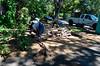 Demolition begins - pulling out brick headers