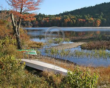 Canoe & Sailboat On The Shore - Unk NH Lake