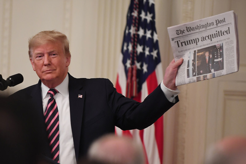 President Donald J. Trump delivers remarks in The East Room about about his acquital verdict by the Senate.