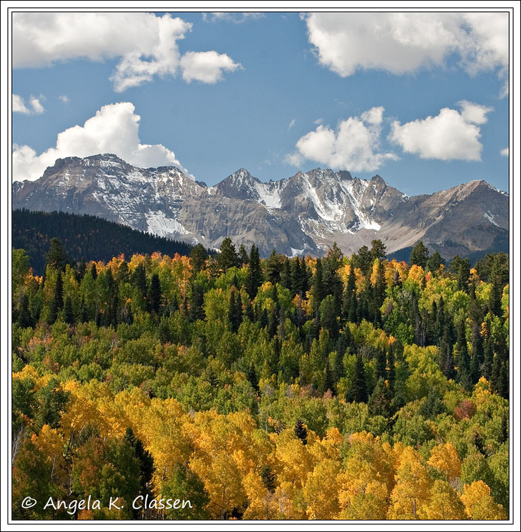 Fall foliage from a viewpoint on County Road 5 near Ridgway, Colorado