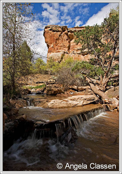 During spring runoff, a small creek and cascades gurgle through Rough Canyon, near Grand Junction, Colorado