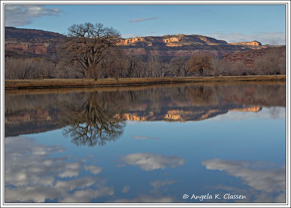 Late fall reflections on a pond at a private ranch near Loma, Colorado