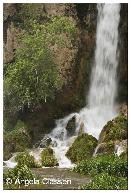 A close up view of the middle fall at Rifle Falls, near Rifle, Colorado