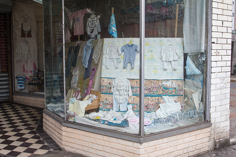 Children's clothing store window, Union City<br /> ©2018 Peter Aldrich