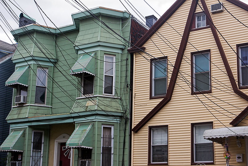 Faded Green and Yellow Neighbors, Jersey City<br /> ©2020 Peter Aldrich