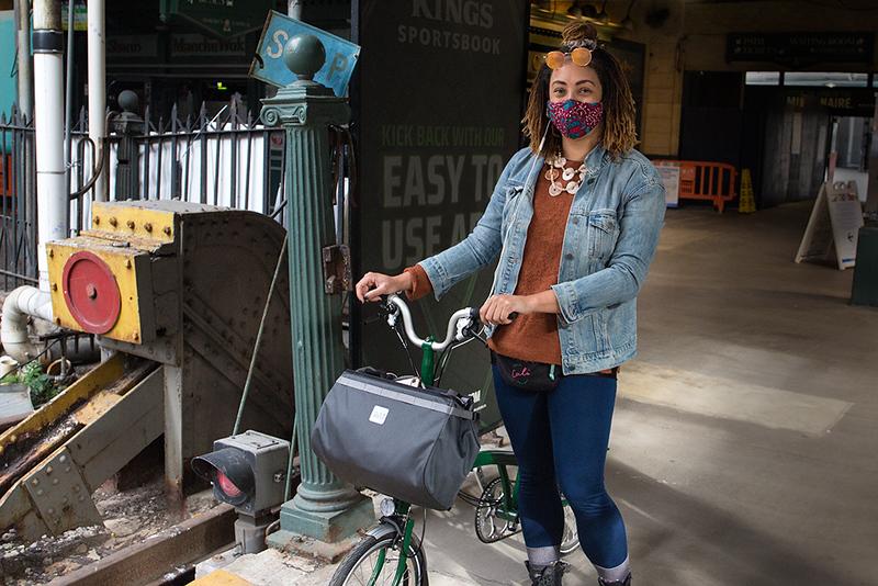 Cyclist at Hoboken Terminal<br /> ©2020 Peter Aldrich