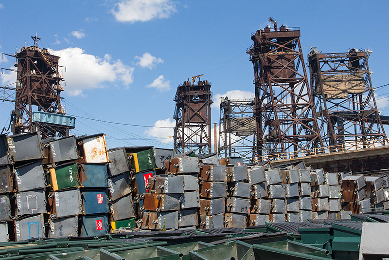 Waste containers and rail bridge, Jersey City<br /> ©2019 Peter Aldrich