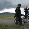 We are at the intersection of FR87 and hwy 285.  It was about 44 miles of dirt road thru beatiful country.  We did it in about two hours.  Did not stop much either.  You can see San Antonio Mountain in the back round.  Clouds are starting to get a little interesting.  Are goal was to take a dirt road to the town of Arroyo Hondo.  But we could not find it, and the rain was starting to get serious.  Lots of lightning.  So, AtomicXRer and Everrest decided to head back home via 285 to Espanola.  I was headed towards Taos.  We broke away at Tres Piedras.<br /> It was great having them along.