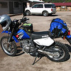 I arrived at La Cueva in Jemez about 9:06 a.m.  I left Albq at 7:45.  Bike is nice and clean and loaded down.  Oh, new 606's.