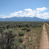 Looking east toward the Sangre De Cristo Mountains.  I believe the highest point there is Latir Peak.