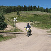 Back on the Dual Sport bikes on our ride to Taos.  DRinda505 macking tracks.  Hwy 17 is up on the hill in the backround.