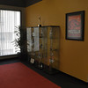 Trophy cases in lobby