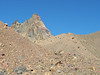 One of Broken Top's spires peeking over the moraine on the east shoulder of the mountain.