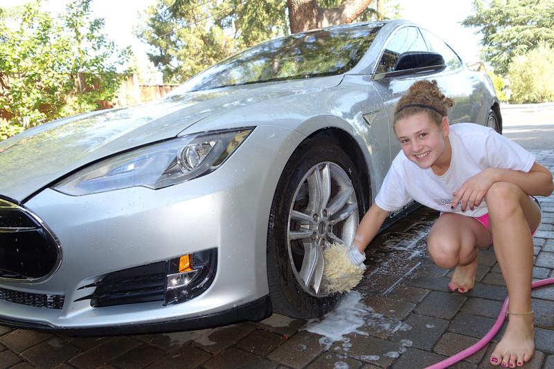 Katie washing Beta 59 this morning.  :)