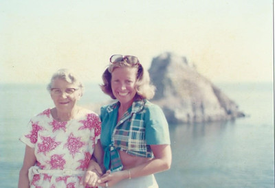 Aunt Dorothy & Patricia, summer 1976 Torquay (Thatcher's Rock in background).