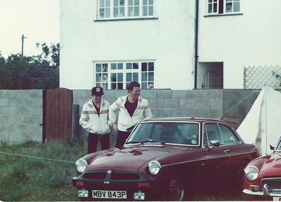 Judith, Me & MBG GT V8, MGOC meeting, Castlecombe, 1980