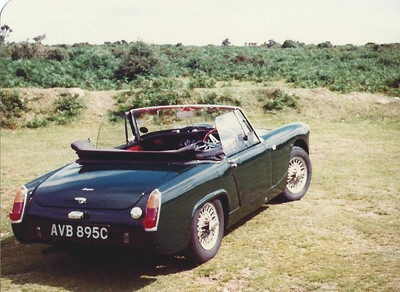 Healey Sprite, Dartmoor, 1982.