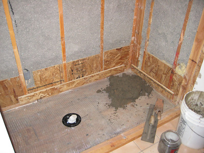 Old shower ripped out, beginning new shower