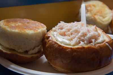 Clam Chowder in bread bowl topped with crab and shrimp Pismo Beach