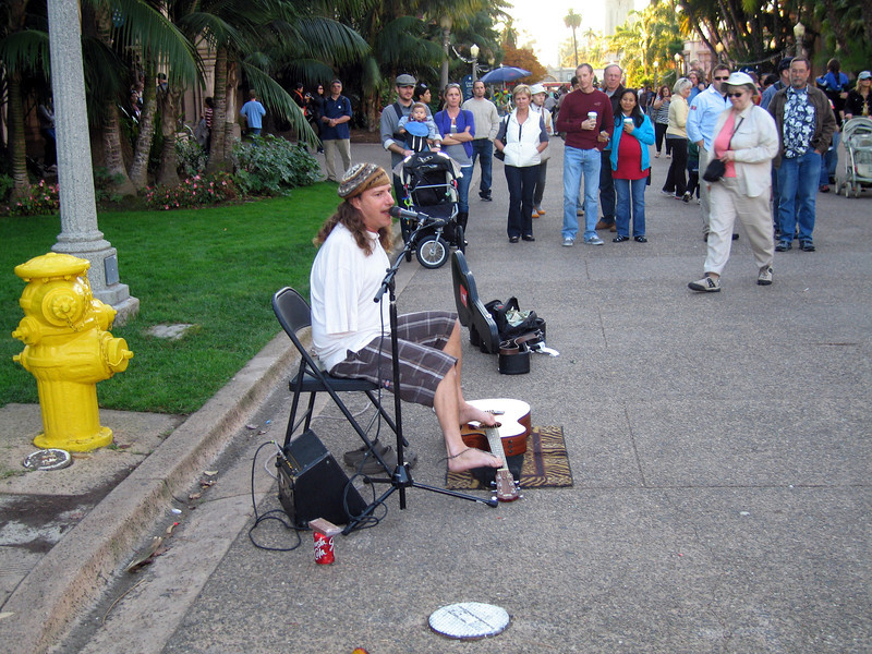 Mark Goffeney playing, Balboa Park, San Diego, 25 Nov 2011