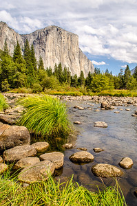 El Capitan across the Merced River; from Valley View. Yosemite