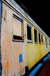 Unrestored rail car at Orange Empire Railroad Museum