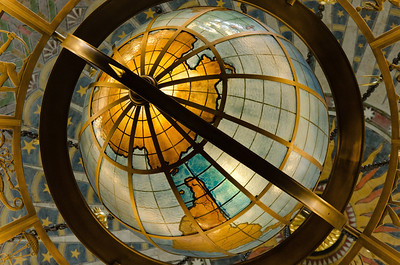 Ceiling view inside LA Central Library.