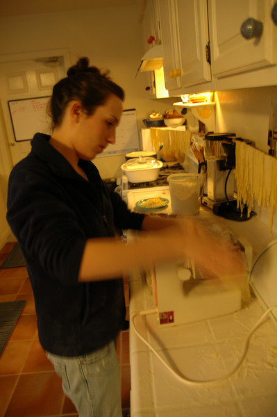 Casey is a blur of motion as she cranks out fresh pasta made with local fresh eggs from right down the street.