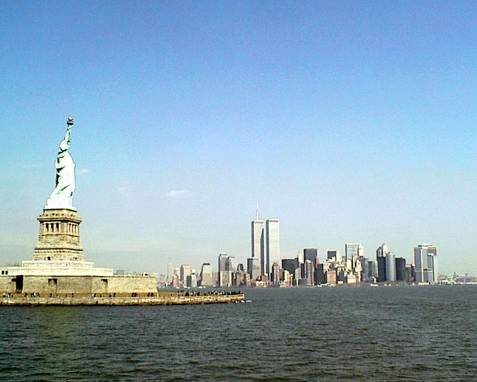 Remembering New York <br /> <br /> Statue of Liberty and World Trade Center March 2001