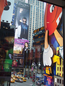 Inside the M&M store looking out at Times Square
