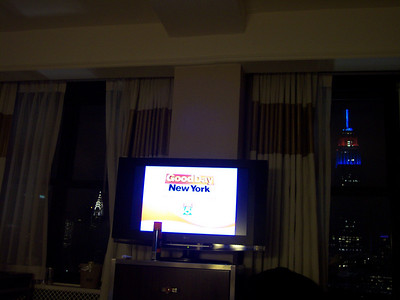 Another view from my bed.  Chrysler Building out the left window and Empire State Building out the right window.