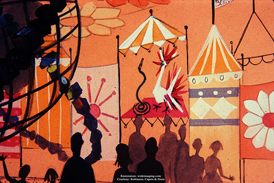 """The Better Living Pavilion's Borden exhibit mural showing the Unisphere with dairy product """"rings""""."""