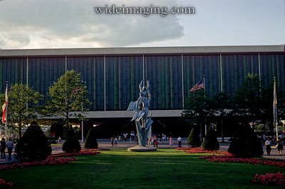 "United States Pavilion, with Marshall Fredricks' ""Freedom of the Human Spirit"" 24' bronze statue in foreground."