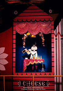 """The Better Living Pavilion's Borden exhibit puppet sideshow for """"Cheese Rings the Bell"""""""