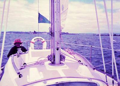 """Keith Willis sailing his boat """"El Dorado"""" in the Bay of Islands"""
