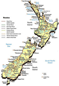 Here is a map showing most of the points of interest I visited and my general routes of travel during my 6 months in New Zealand.