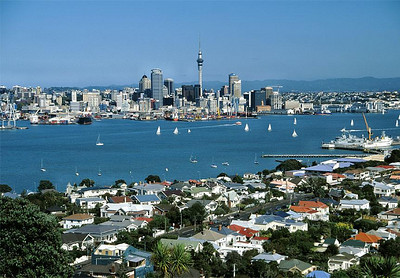 Auckland is the capital city of New Zealand.  It was a nice modern city, but I didn't come all that way to see cities.  I found a branch of the Bank of New Zealand and opened a checking account, as required by the bureaucrats, to show proof I could support myself for the length of my stay.  I spent the night at a youth hostel and phoned Pam Postan's relatives, the Willis family, who were expecting my arrival.