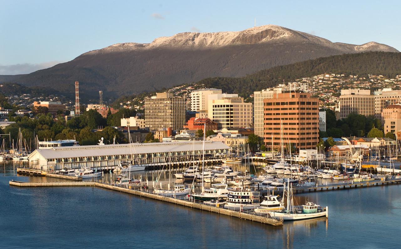 Hobart Tasmania, AU.  Mount Wellington with snow cap behind.